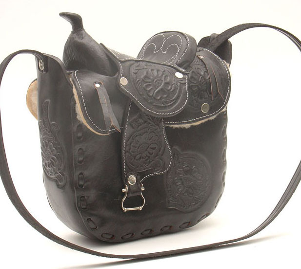 Leather Saddle Purse  Black 10 x 9 in